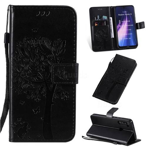 Embossing Butterfly Tree Leather Wallet Case for Mi Xiaomi Redmi Note 8 - Black