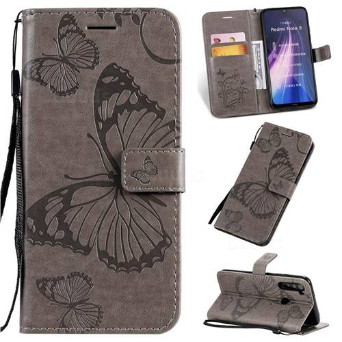 Embossing 3D Butterfly Leather Wallet Case for Mi Xiaomi Redmi Note 8 - Gray