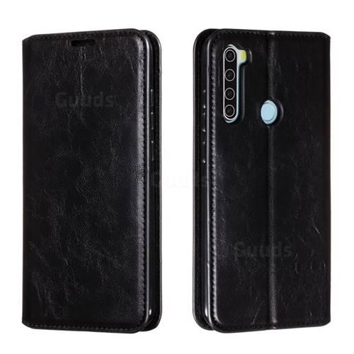 Retro Slim Magnetic Crazy Horse PU Leather Wallet Case for Mi Xiaomi Redmi Note 8 - Black