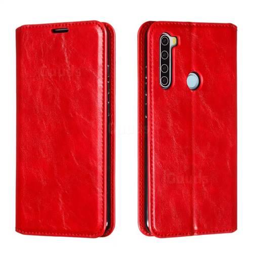 Retro Slim Magnetic Crazy Horse PU Leather Wallet Case for Mi Xiaomi Redmi Note 8 - Red