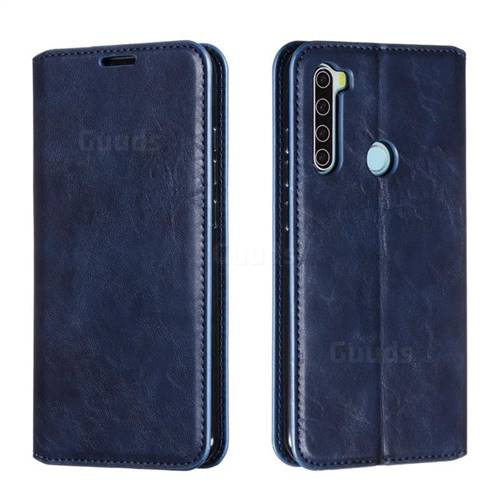 Retro Slim Magnetic Crazy Horse PU Leather Wallet Case for Mi Xiaomi Redmi Note 8 - Blue