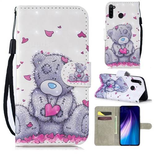 Love Panda 3D Painted Leather Wallet Phone Case for Mi Xiaomi Redmi Note 8