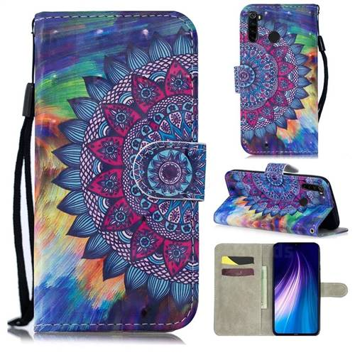 Oil Painting Mandala 3D Painted Leather Wallet Phone Case for Mi Xiaomi Redmi Note 8