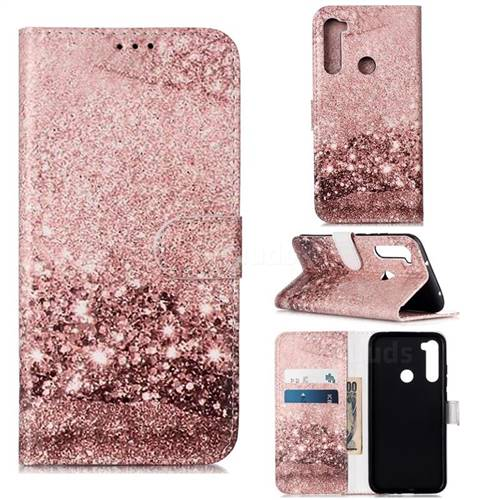 Glittering Rose Gold PU Leather Wallet Case for Mi Xiaomi Redmi Note 8