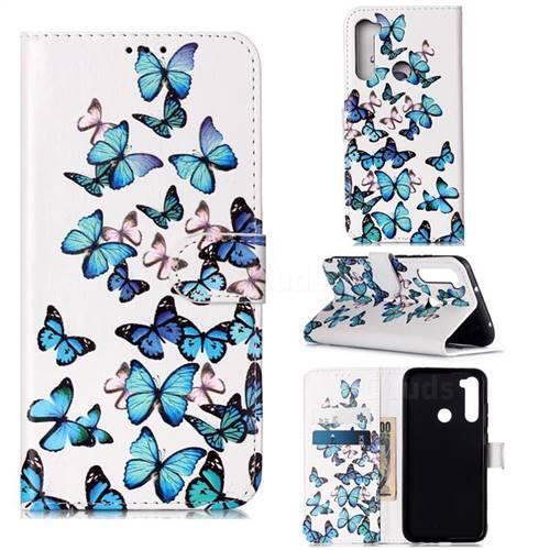 Blue Vivid Butterflies PU Leather Wallet Case for Mi Xiaomi Redmi Note 8