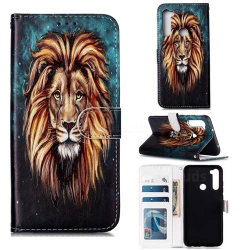 Ice Lion 3D Relief Oil PU Leather Wallet Case for Mi Xiaomi Redmi Note 8