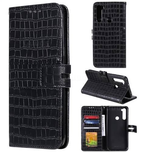 Luxury Crocodile Magnetic Leather Wallet Phone Case for Mi Xiaomi Redmi Note 8 - Black
