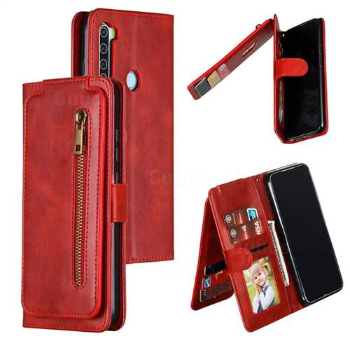 Multifunction 9 Cards Leather Zipper Wallet Phone Case for Mi Xiaomi Redmi Note 8 - Red