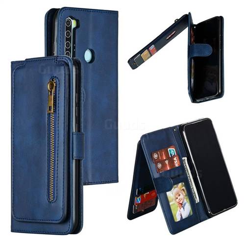 Multifunction 9 Cards Leather Zipper Wallet Phone Case for Mi Xiaomi Redmi Note 8 - Blue