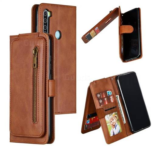 Multifunction 9 Cards Leather Zipper Wallet Phone Case for Mi Xiaomi Redmi Note 8 - Brown