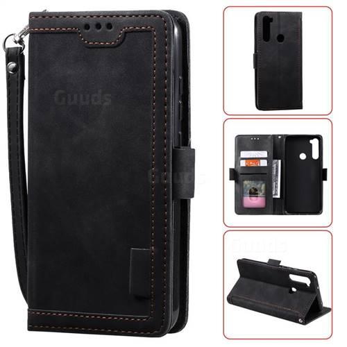 Luxury Retro Stitching Leather Wallet Phone Case for Mi Xiaomi Redmi Note 8 - Black
