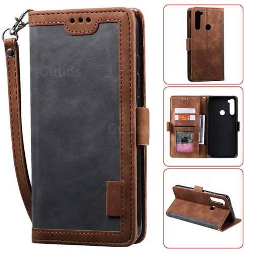 Luxury Retro Stitching Leather Wallet Phone Case for Mi Xiaomi Redmi Note 8 - Gray