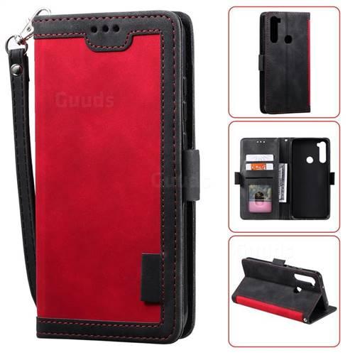 Luxury Retro Stitching Leather Wallet Phone Case for Mi Xiaomi Redmi Note 8 - Deep Red