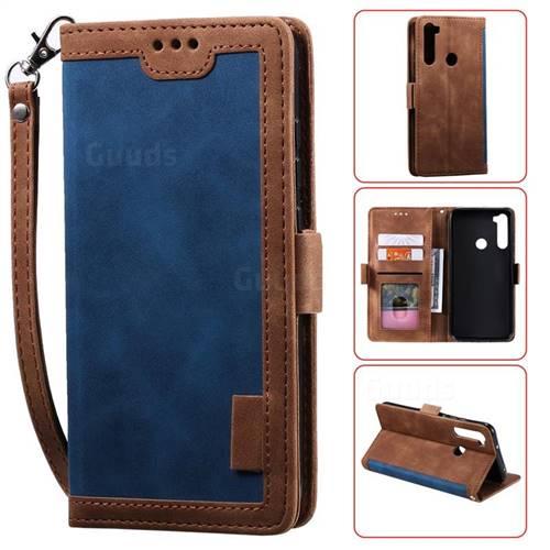 Luxury Retro Stitching Leather Wallet Phone Case for Mi Xiaomi Redmi Note 8 - Dark Blue