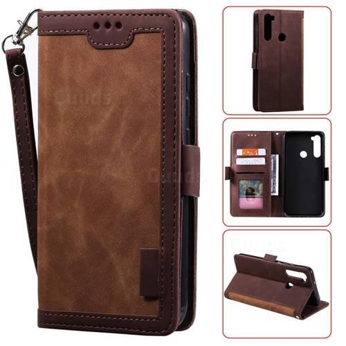 Luxury Retro Stitching Leather Wallet Phone Case for Mi Xiaomi Redmi Note 8 - Dark Brown