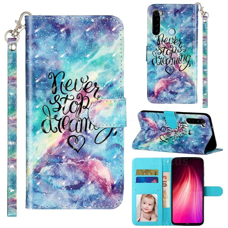 Blue Starry Sky 3D Leather Phone Holster Wallet Case for Mi Xiaomi Redmi Note 8