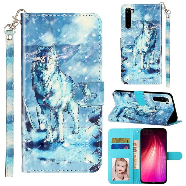 Snow Wolf 3D Leather Phone Holster Wallet Case for Mi Xiaomi Redmi Note 8