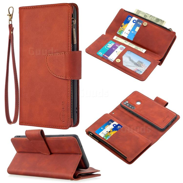 Binfen Color BF02 Sensory Buckle Zipper Multifunction Leather Phone Wallet for Mi Xiaomi Redmi Note 8 - Brown