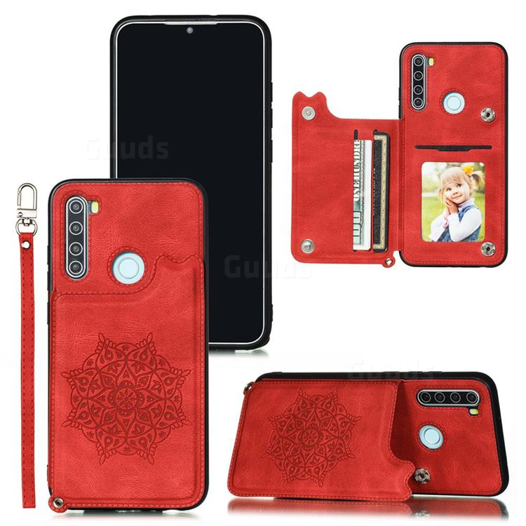 Luxury Mandala Multi-function Magnetic Card Slots Stand Leather Back Cover for Mi Xiaomi Redmi Note 8 - Red