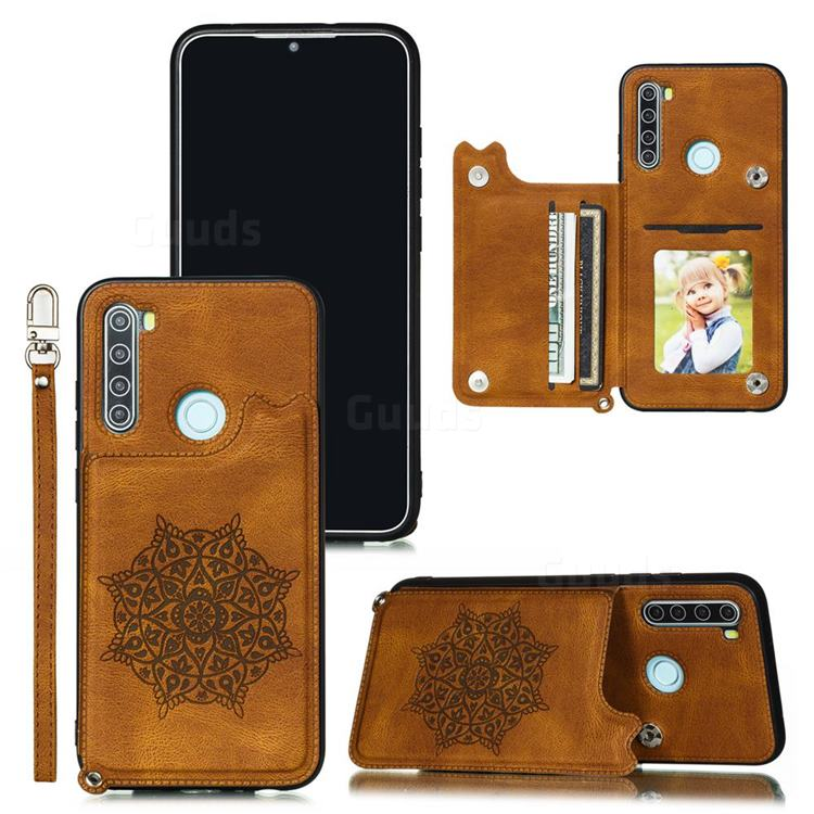 Luxury Mandala Multi-function Magnetic Card Slots Stand Leather Back Cover for Mi Xiaomi Redmi Note 8 - Brown