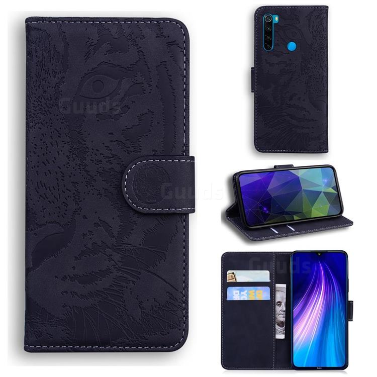 Intricate Embossing Tiger Face Leather Wallet Case for Mi Xiaomi Redmi Note 8 - Black