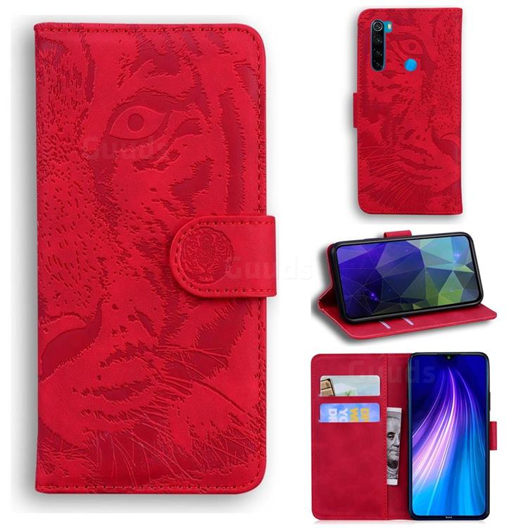 Intricate Embossing Tiger Face Leather Wallet Case for Mi Xiaomi Redmi Note 8 - Red