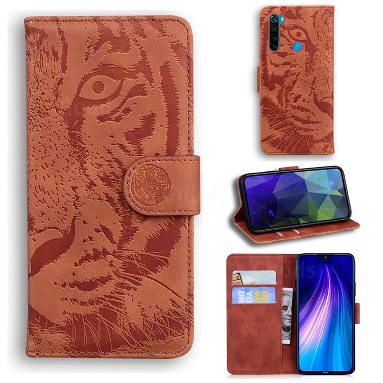 Intricate Embossing Tiger Face Leather Wallet Case for Mi Xiaomi Redmi Note 8 - Brown