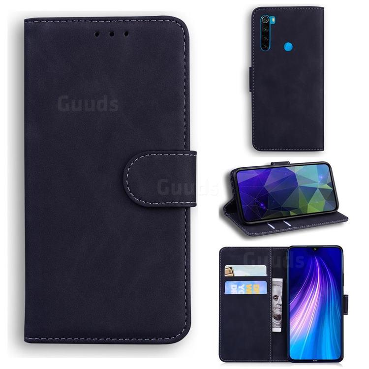 Retro Classic Skin Feel Leather Wallet Phone Case for Mi Xiaomi Redmi Note 8 - Black
