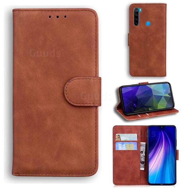 Retro Classic Skin Feel Leather Wallet Phone Case for Mi Xiaomi Redmi Note 8 - Brown