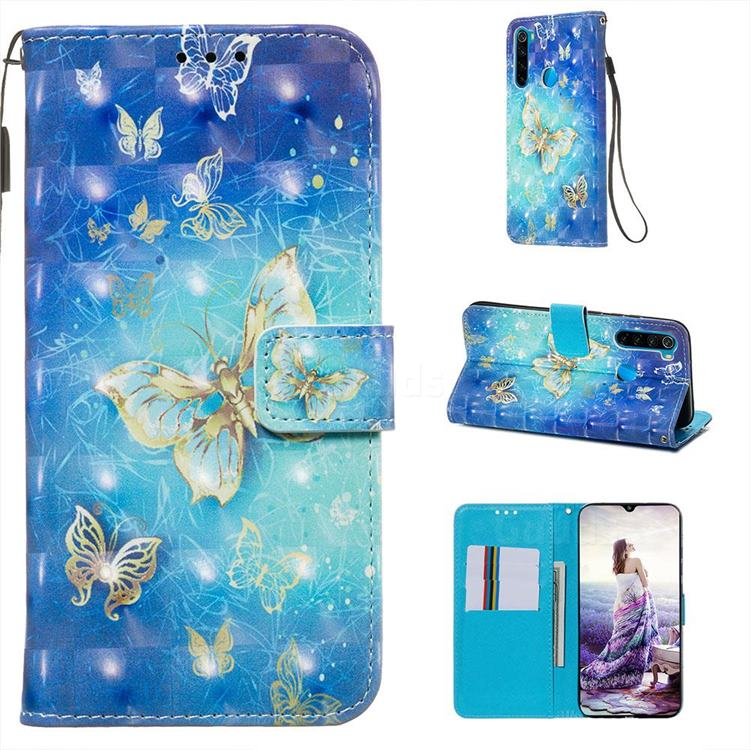 Gold Butterfly 3D Painted Leather Wallet Case for Mi Xiaomi Redmi Note 8