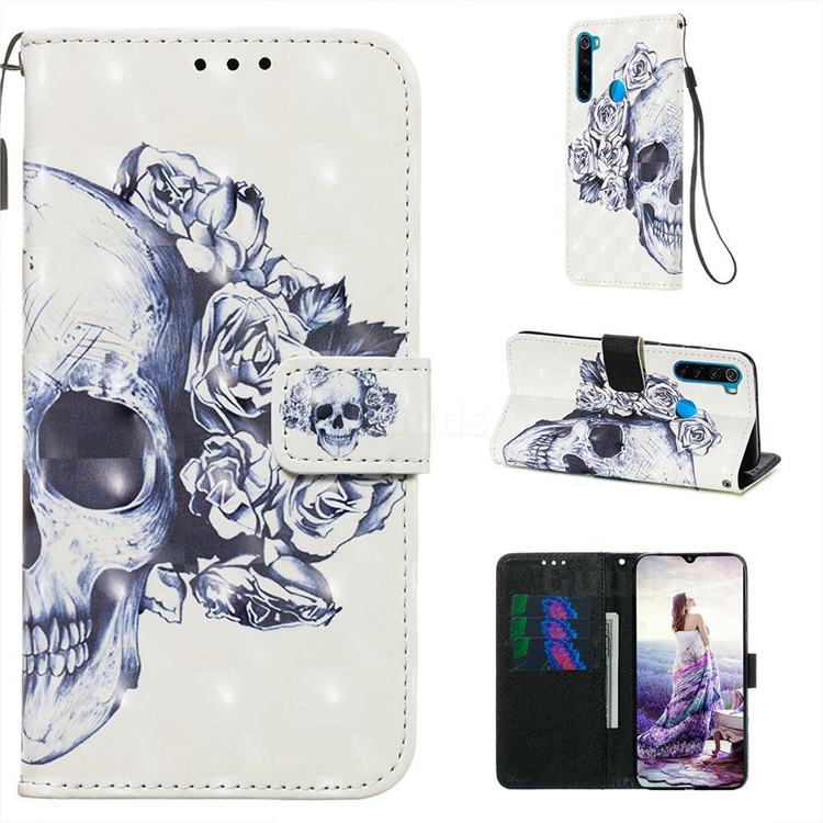 Skull Flower 3D Painted Leather Wallet Case for Mi Xiaomi Redmi Note 8