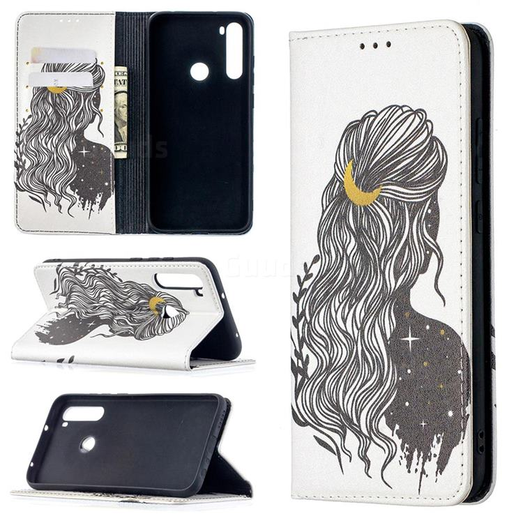 Girl with Long Hair Slim Magnetic Attraction Wallet Flip Cover for Mi Xiaomi Redmi Note 8