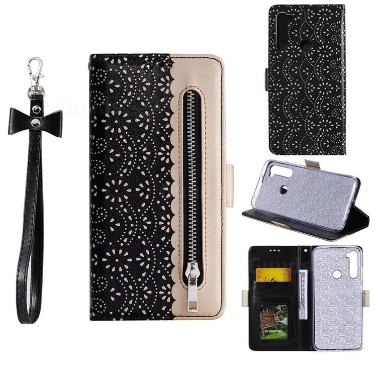 Luxury Lace Zipper Stitching Leather Phone Wallet Case for Mi Xiaomi Redmi Note 8 - Black