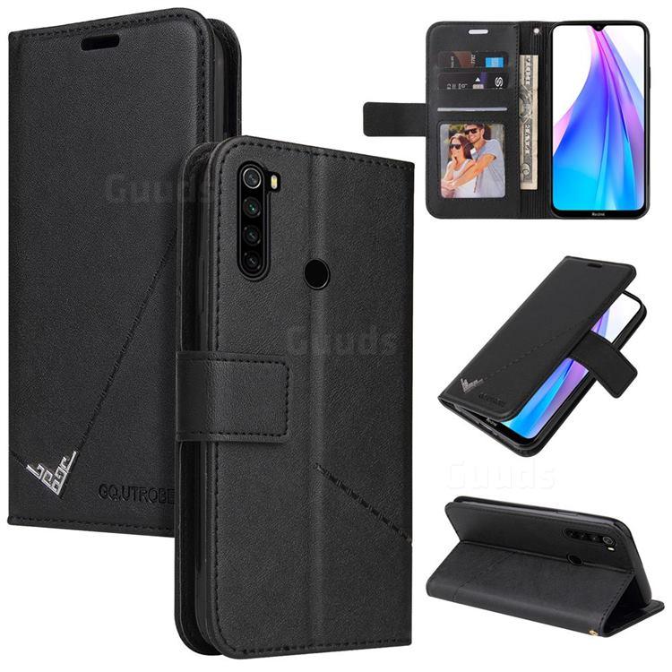 GQ.UTROBE Right Angle Silver Pendant Leather Wallet Phone Case for Mi Xiaomi Redmi Note 8 - Black