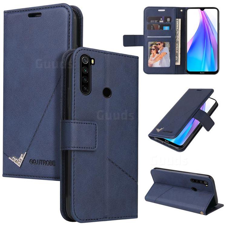 GQ.UTROBE Right Angle Silver Pendant Leather Wallet Phone Case for Mi Xiaomi Redmi Note 8 - Blue