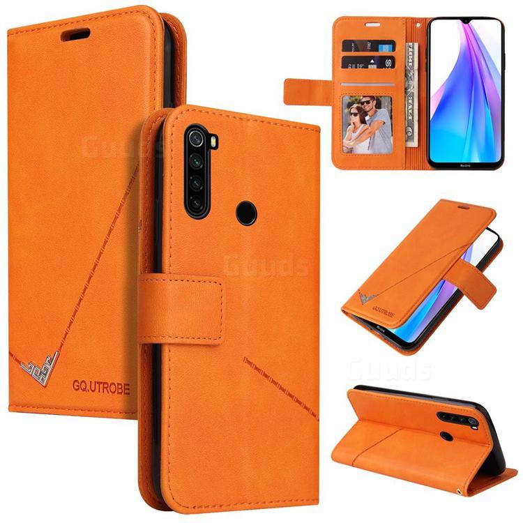 GQ.UTROBE Right Angle Silver Pendant Leather Wallet Phone Case for Mi Xiaomi Redmi Note 8 - Orange