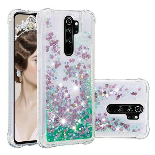 Dynamic Liquid Glitter Sand Quicksand TPU Case for Mi Xiaomi Redmi Note 8 Pro - Green Love Heart