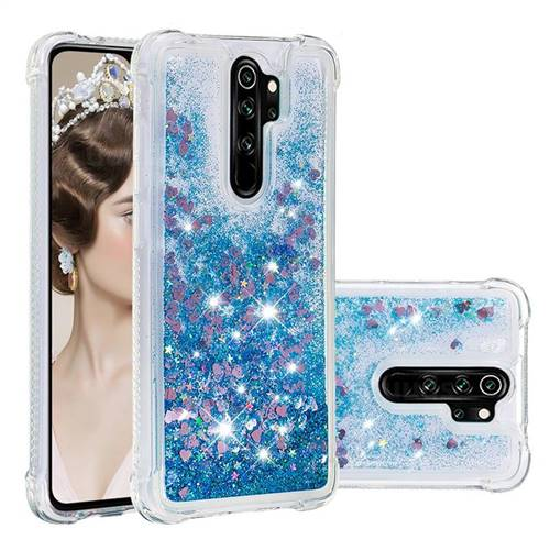 Dynamic Liquid Glitter Sand Quicksand TPU Case for Mi Xiaomi Redmi Note 8 Pro - Blue Love Heart