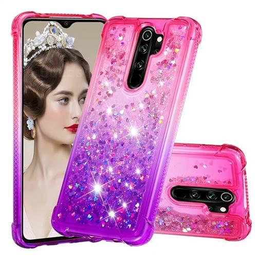 Rainbow Gradient Liquid Glitter Quicksand Sequins Phone Case for Mi Xiaomi Redmi Note 8 Pro - Pink Purple