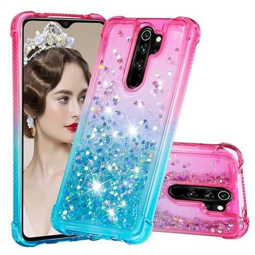 Rainbow Gradient Liquid Glitter Quicksand Sequins Phone Case for Mi Xiaomi Redmi Note 8 Pro - Pink Blue