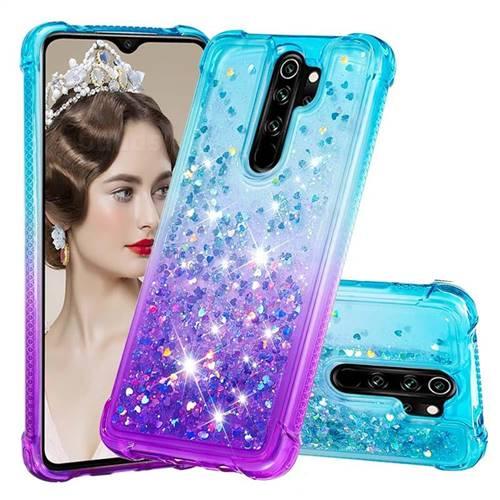 Rainbow Gradient Liquid Glitter Quicksand Sequins Phone Case for Mi Xiaomi Redmi Note 8 Pro - Blue Purple
