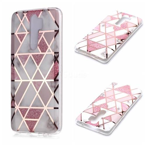 Pink Rhombus Galvanized Rose Gold Marble Phone Back Cover for Mi Xiaomi Redmi Note 8 Pro