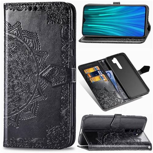 Embossing Imprint Mandala Flower Leather Wallet Case for Mi Xiaomi Redmi Note 8 Pro - Black