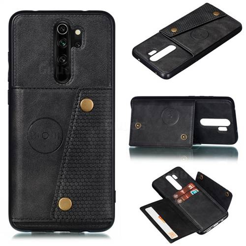 Retro Multifunction Card Slots Stand Leather Coated Phone Back Cover for Mi Xiaomi Redmi Note 8 Pro - Black