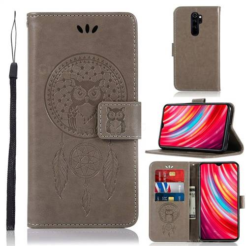 Intricate Embossing Owl Campanula Leather Wallet Case For Mi Xiaomi Redmi Note 8 Pro Grey Xiaomi Redmi Note 8 Pro Cases Guuds