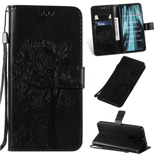 Embossing Butterfly Tree Leather Wallet Case for Mi Xiaomi Redmi Note 8 Pro - Black