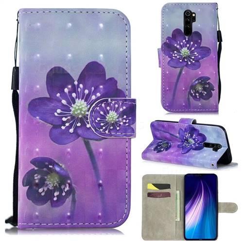 Purple Flower 3D Painted Leather Wallet Phone Case for Mi Xiaomi Redmi Note 8 Pro