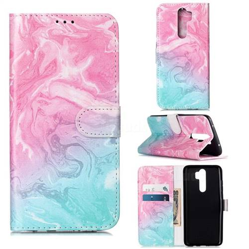 Pink Green Marble PU Leather Wallet Case for Mi Xiaomi Redmi Note 8 Pro