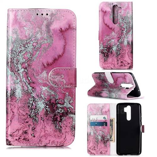 Pink Seawater PU Leather Wallet Case for Mi Xiaomi Redmi Note 8 Pro