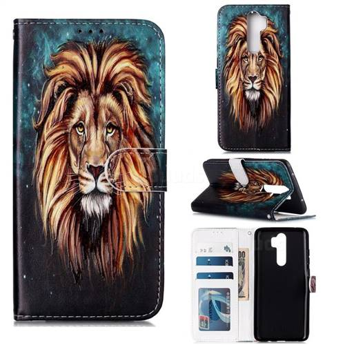 Ice Lion 3D Relief Oil PU Leather Wallet Case for Mi Xiaomi Redmi Note 8 Pro